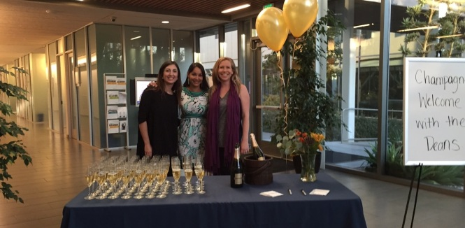 UC Davis MBA--Champagne Welcome with the Deans--WiL Board Members (left to right): Christine Bolghand, Venita Sivamani, Amber Lewis.